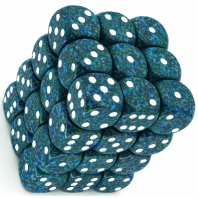 Blue & White 'Sea' Speckled 12mm D6 Dice Block